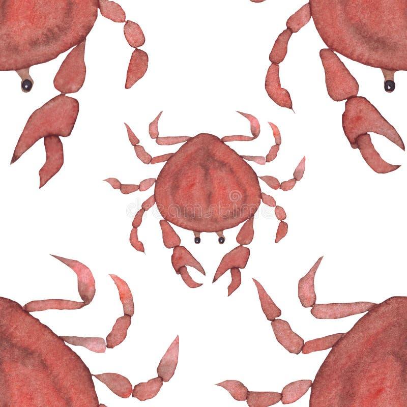 水彩红色螃蟹海洋样式 向量例证