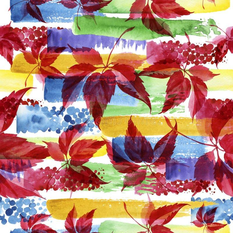 水彩红葡萄叶子 叶子植物植物园花卉叶子 无缝的背景模式 库存例证