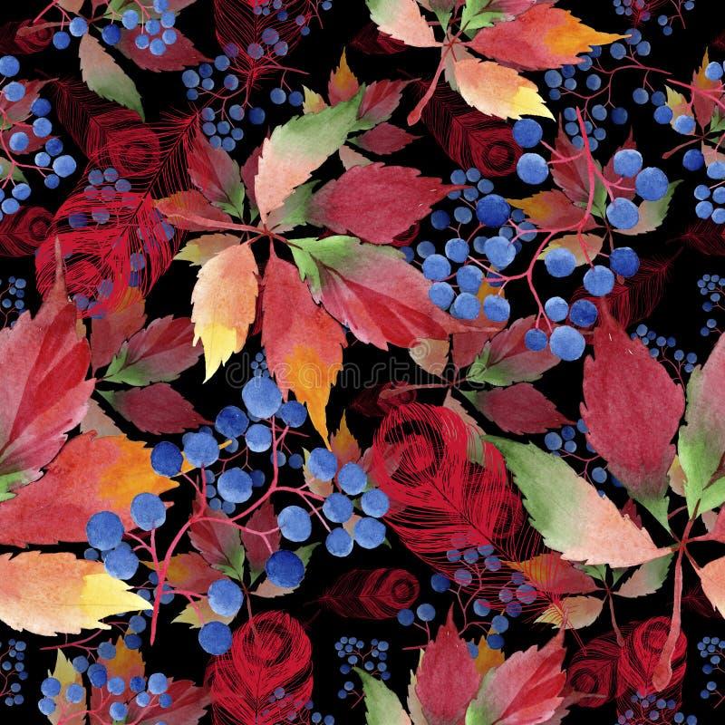 水彩红葡萄叶子 叶子植物植物园花卉叶子 无缝的背景模式 皇族释放例证