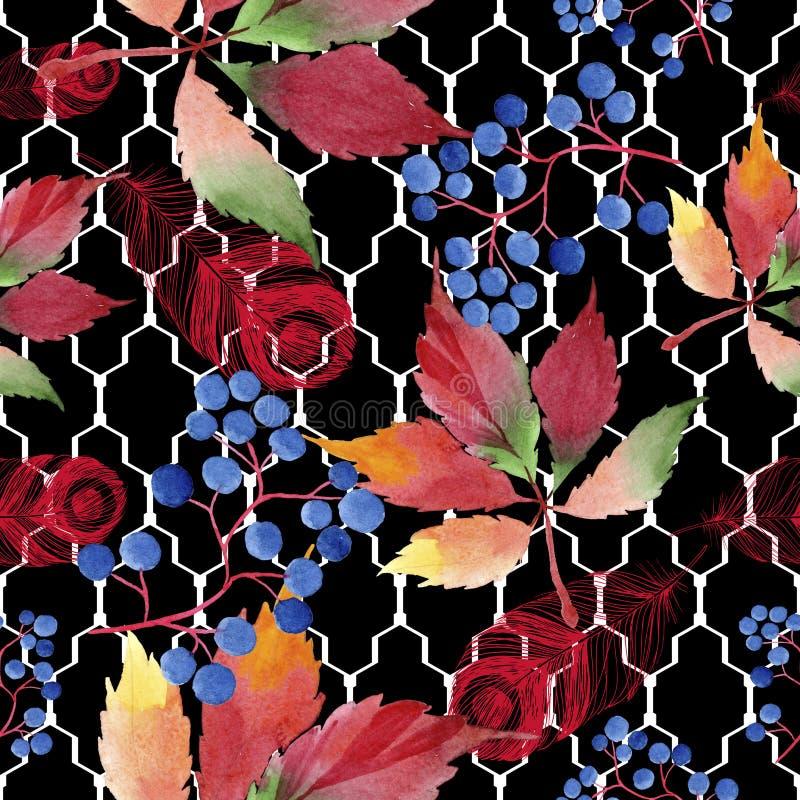 水彩红葡萄叶子 叶子植物植物园花卉叶子 无缝的背景模式 向量例证