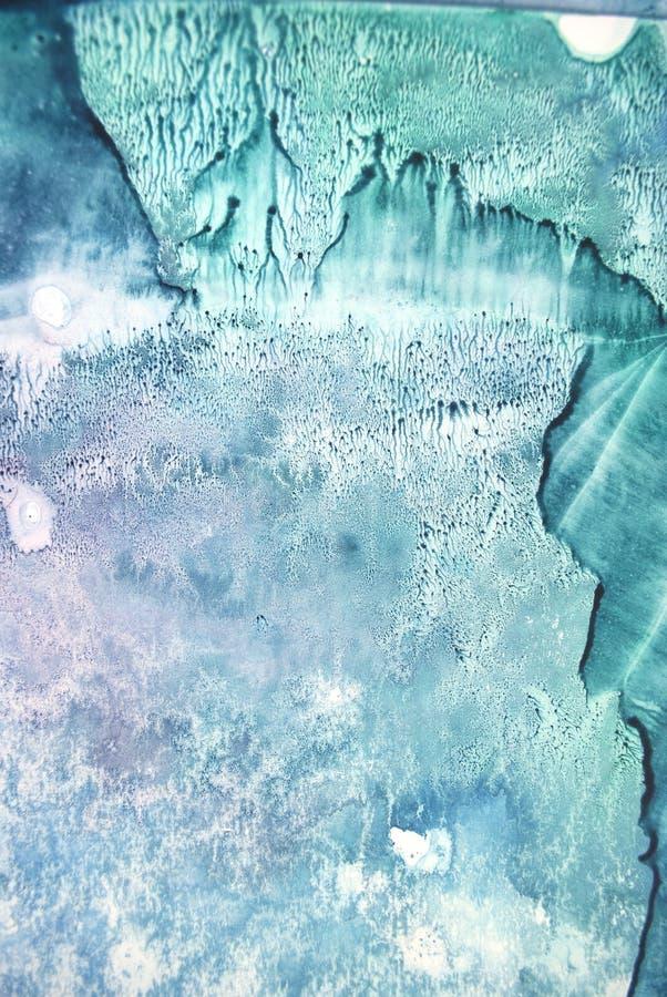 水彩纹理飞溅 原始的摘要,纸,石头,冰,空间,星系,宇宙轻的样式绿松石颜色污点一滴 图库摄影