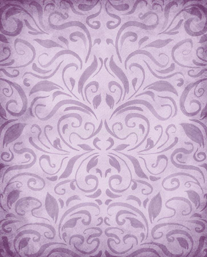 水彩绘了对称样式背景,在俏丽的淡色紫色的典雅的维多利亚女王时代的锦缎样式墙纸设计 向量例证