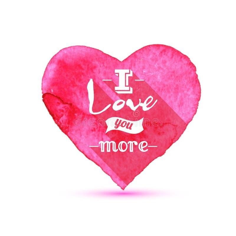 水彩绘了桃红色心脏,您的设计的传染媒介元素我爱你更 库存例证