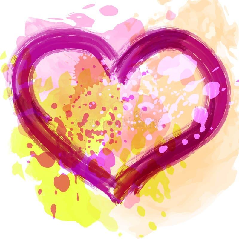 水彩绘了桃红色心脏,您的设计的传染媒介元素 库存例证