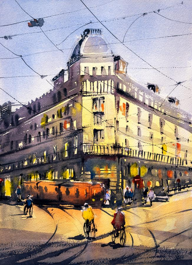 水彩绘画-巴黎街道视图  库存例证