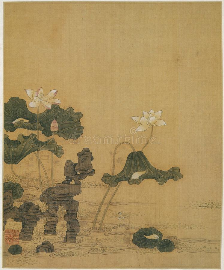 水彩绘的莲花和石头 免版税库存照片