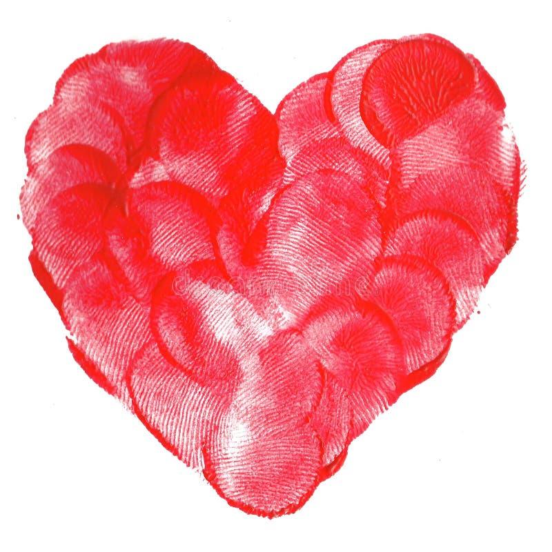 水彩绝缘了一个红色心脏标志的例证 免版税库存照片