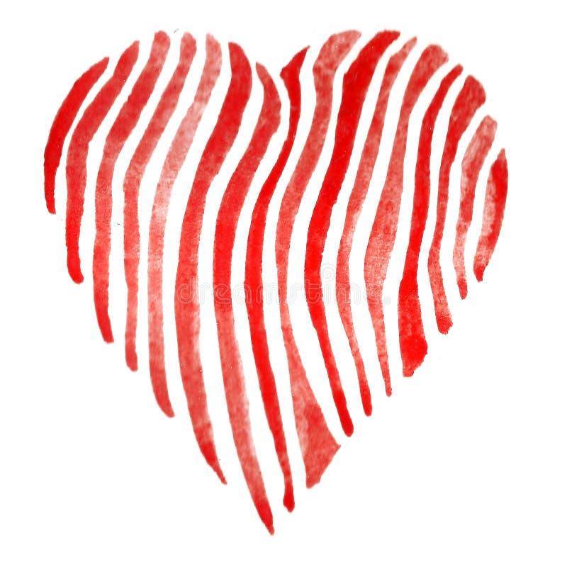 水彩绝缘了一个红色心脏标志的例证 免版税库存图片