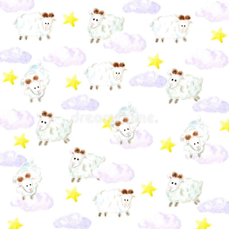 水彩绵羊、星和云彩背景 皇族释放例证