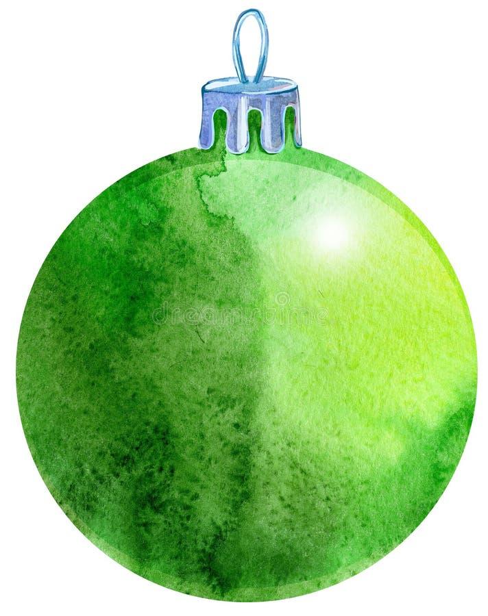 水彩绿色在白色背景隔绝的圣诞节球 库存例证