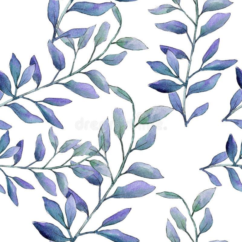 水彩绿色黄杨木潜叶虫叶子 叶子植物植物园花卉叶子 无缝的背景模式 皇族释放例证