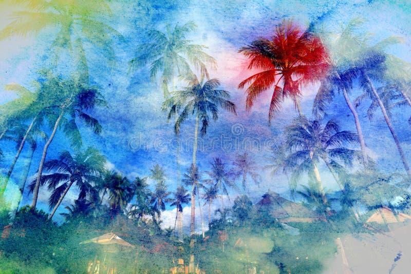 水彩美丽的复古热带棕榈树背景 向量例证