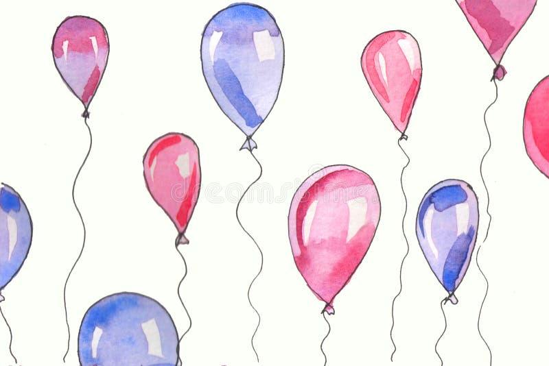 水彩背景例证 在白色背景的水彩气球 库存例证