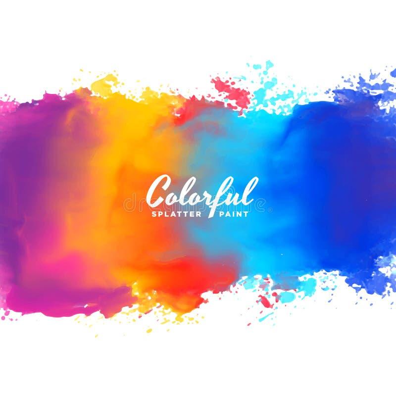 水彩背景手在许多颜色的油漆飞溅