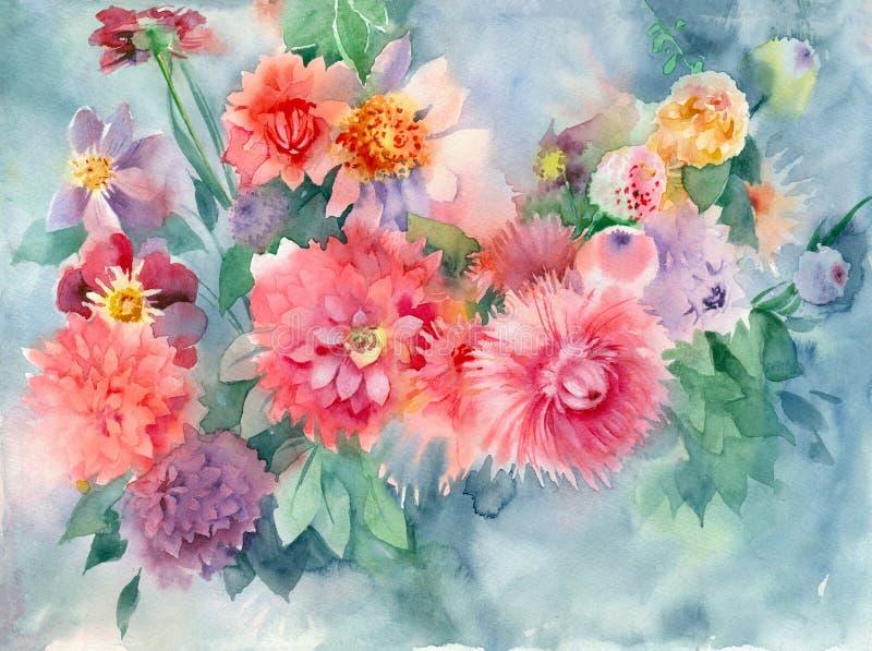 水彩自然本底 束明亮的桃红色花 皇族释放例证