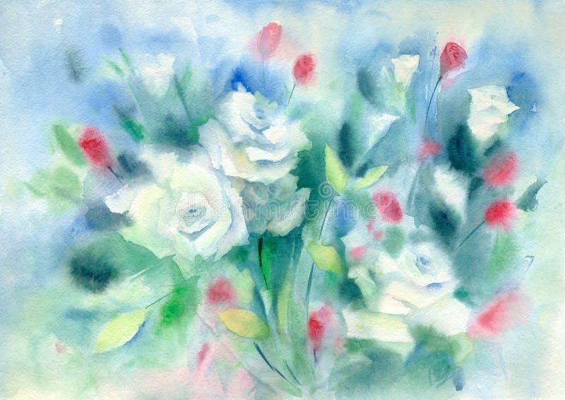 水彩自然背景 白玫瑰花束  向量例证