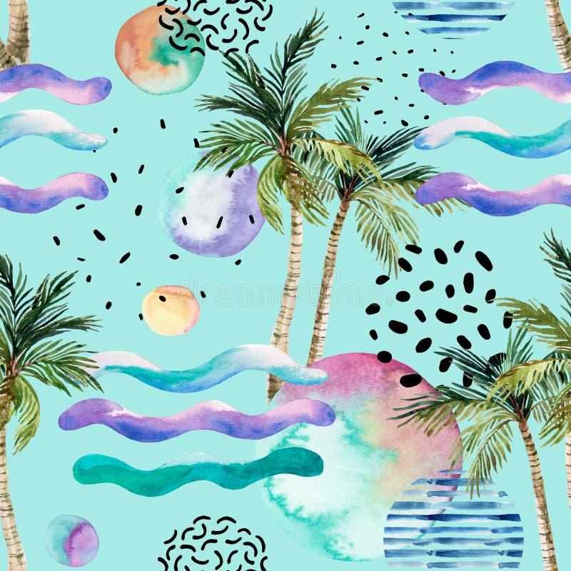水彩艺术例证:棕榈树,乱画,难看的东西纹理,在80s的几何形状, 90s最小的样式 库存例证