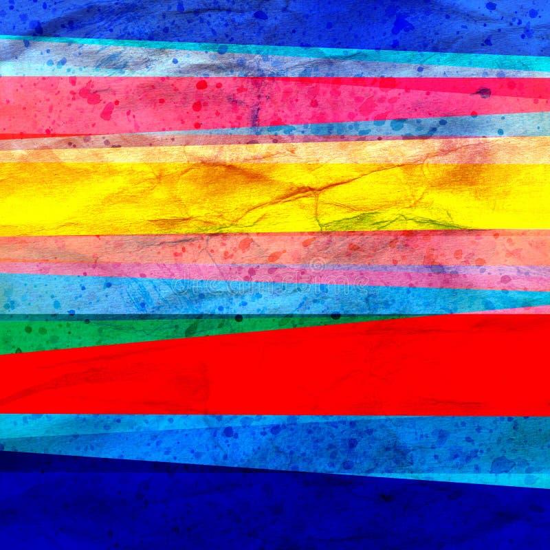 水彩艺术减速火箭的颜色摘要几何背景条纹 库存例证