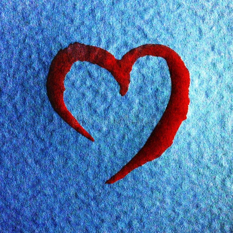 水彩艺术摘要背景明亮的被弄脏的织地不很细装饰手工制造美丽的红色心脏墙纸 向量例证
