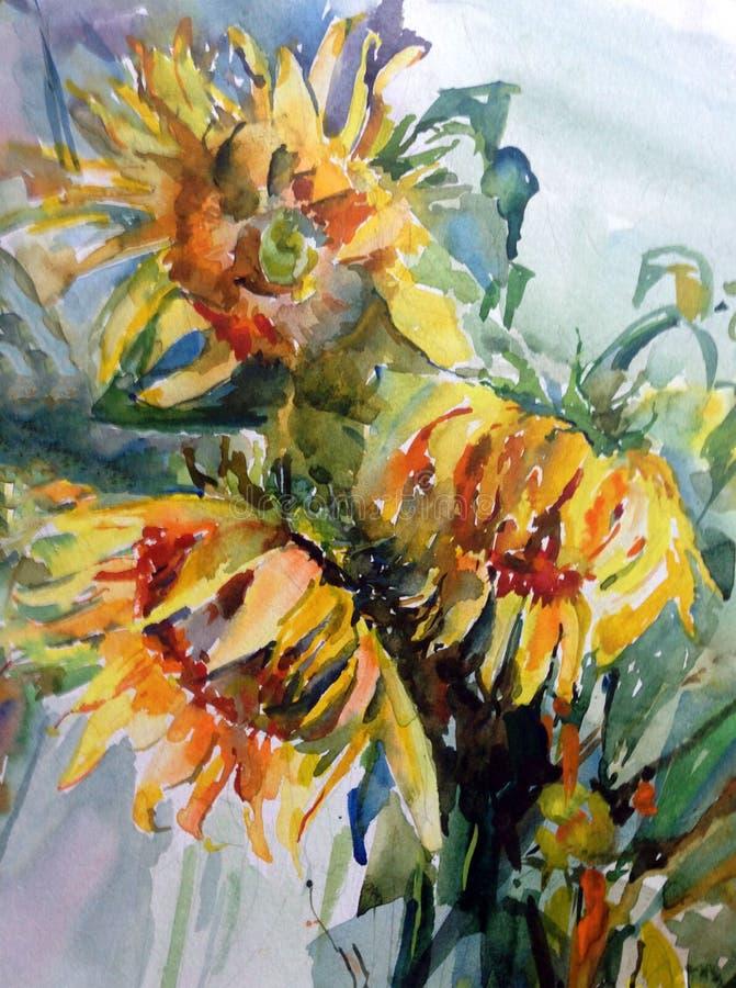 水彩艺术背景创造性的新鲜的充满活力的织地不很细花卉花花束黄色向日葵 皇族释放例证