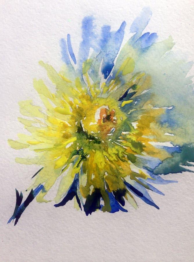 水彩艺术背景花卉花黄色大丽花浪漫自然 向量例证