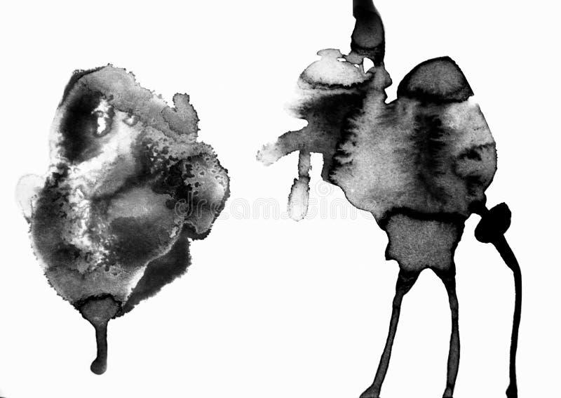 水彩艺术  在水彩纸的交通事故多发地段 查出 在白色背景的抽象灰色斑点 墨水下落 灰色 皇族释放例证