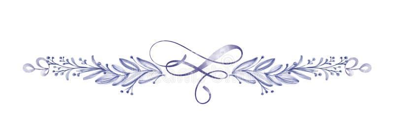 水彩花分离器在贺卡的白色背景隔绝的叶子夏天婚礼的,圣华伦泰` s 向量例证