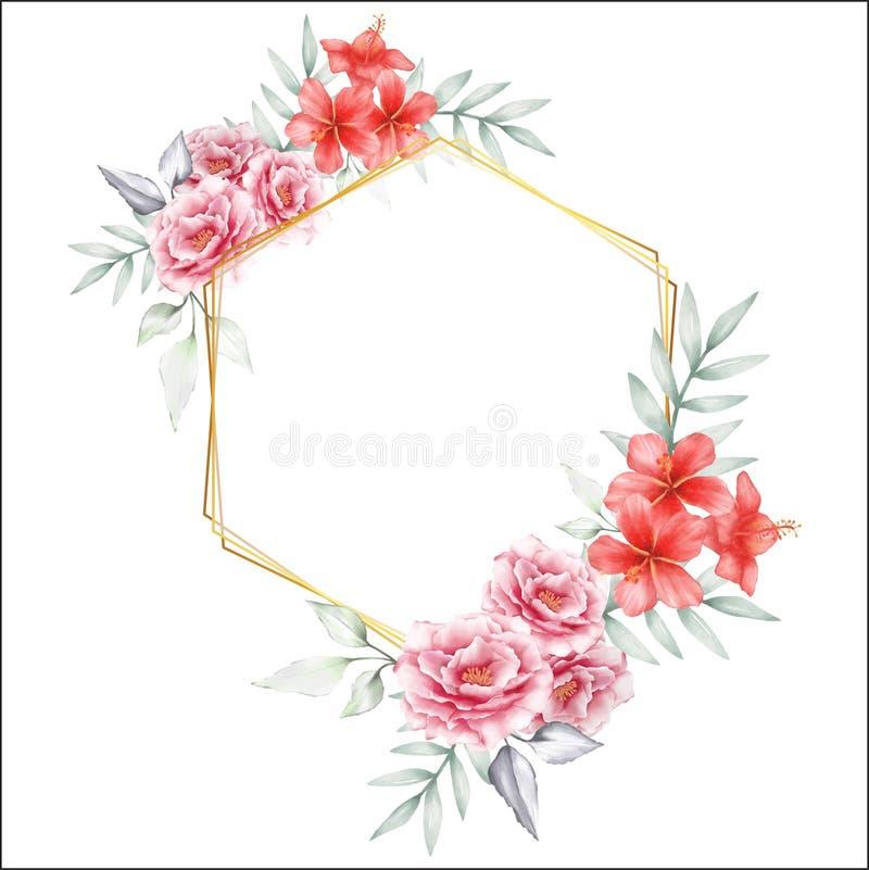 水彩花卉与金黄几何框架 手图画牡丹和木槿花保存日期多用途卡片 向量例证