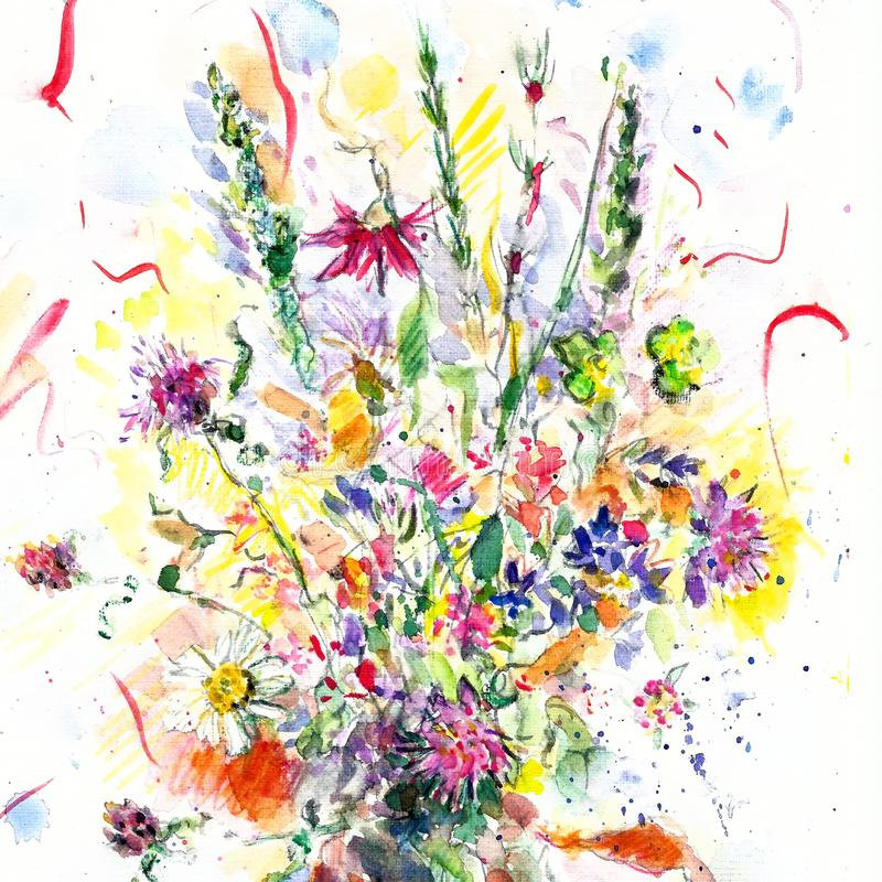 水彩花卉例证 明亮的手画花 夏天野花花束 皇族释放例证