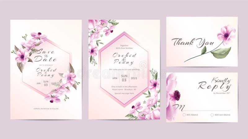 水彩花卉婚姻的邀请模板金黄框架 与分支的手画的玫瑰和木槿花保存日期, 库存例证
