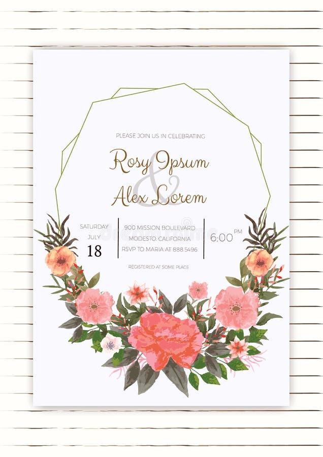 水彩花卉婚礼邀请 库存照片