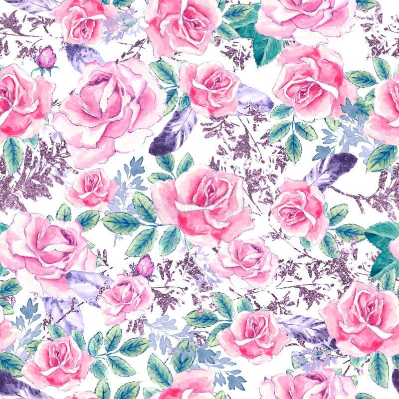 水彩花卉样式 与紫色和桃红色花束的无缝的样式在白色背景 草甸花,玫瑰 向量例证