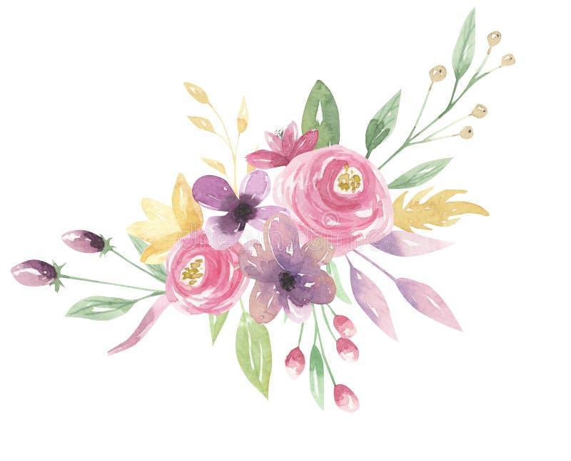 水彩花卉桃红色花束莓果紫色花叶子绿色安排 皇族释放例证