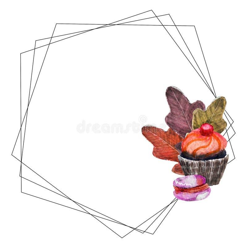 水彩花圈用杯形蛋糕和macarons 皇族释放例证