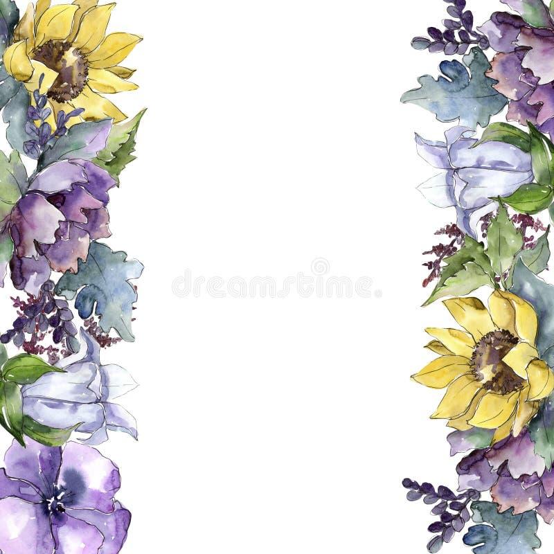水彩花束花 花卉植物的花 框架边界装饰品正方形 向量例证