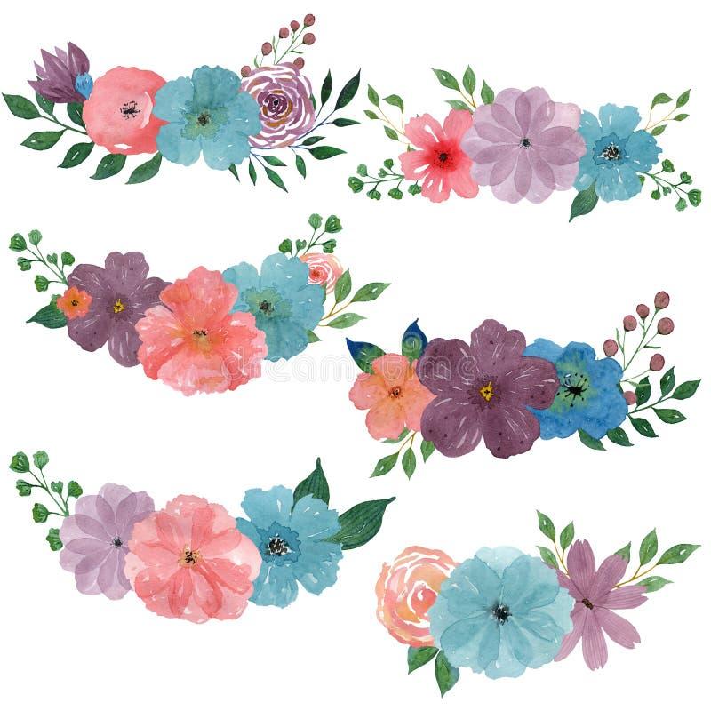 水彩花束 设置在白色背景的水彩例证 皇族释放例证
