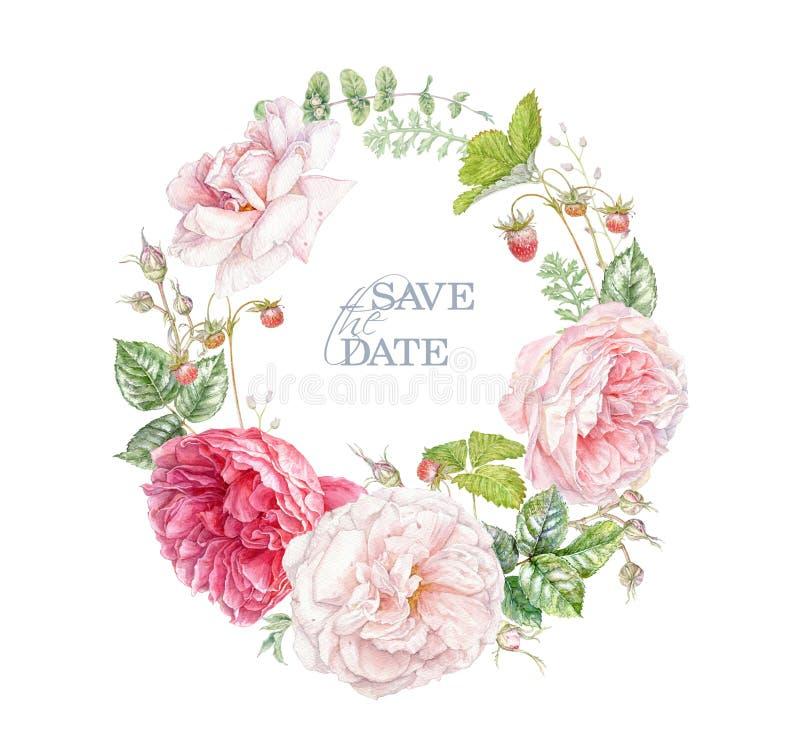 水彩花环,粉红玫瑰和浆果 免版税库存照片