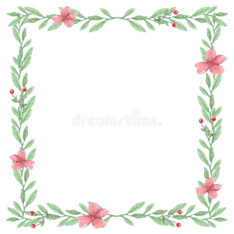 水彩花背景,花卉框架 向量例证