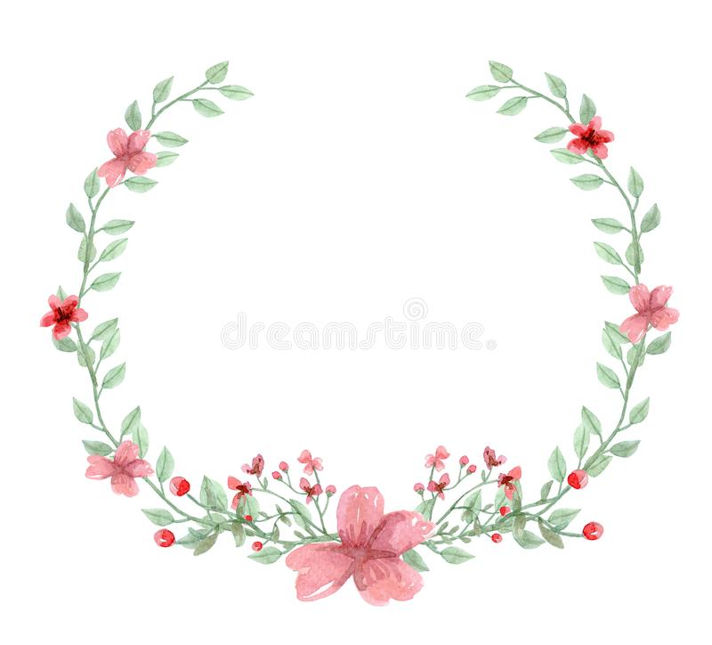 水彩花背景,花卉框架 皇族释放例证