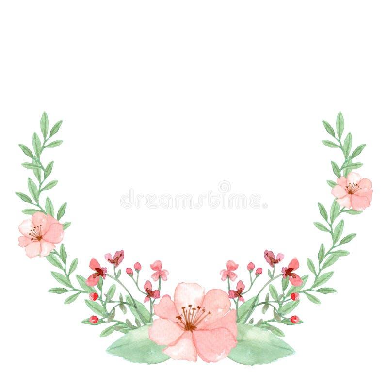 水彩花背景,花卉框架 库存例证