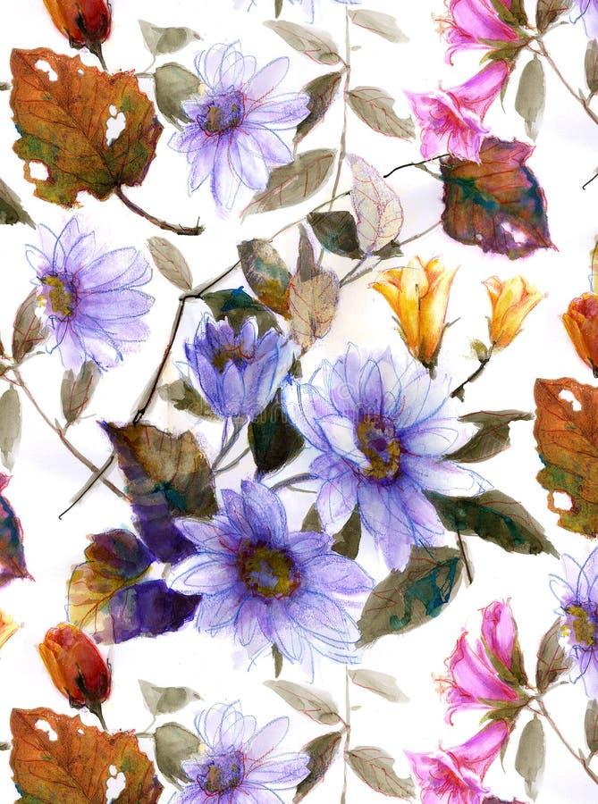 水彩花设计 库存照片