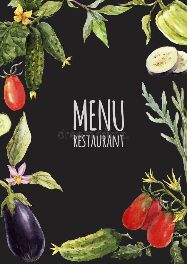 水彩菜单模板 向量例证