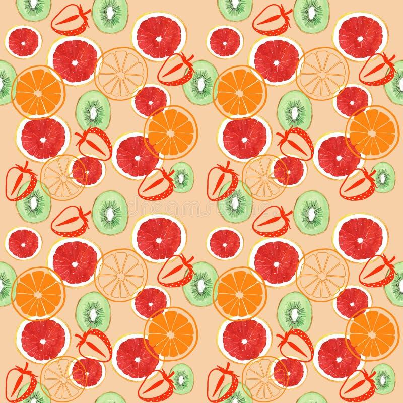 水彩葡萄柚猕猴桃和橙色无缝的样式 向量例证