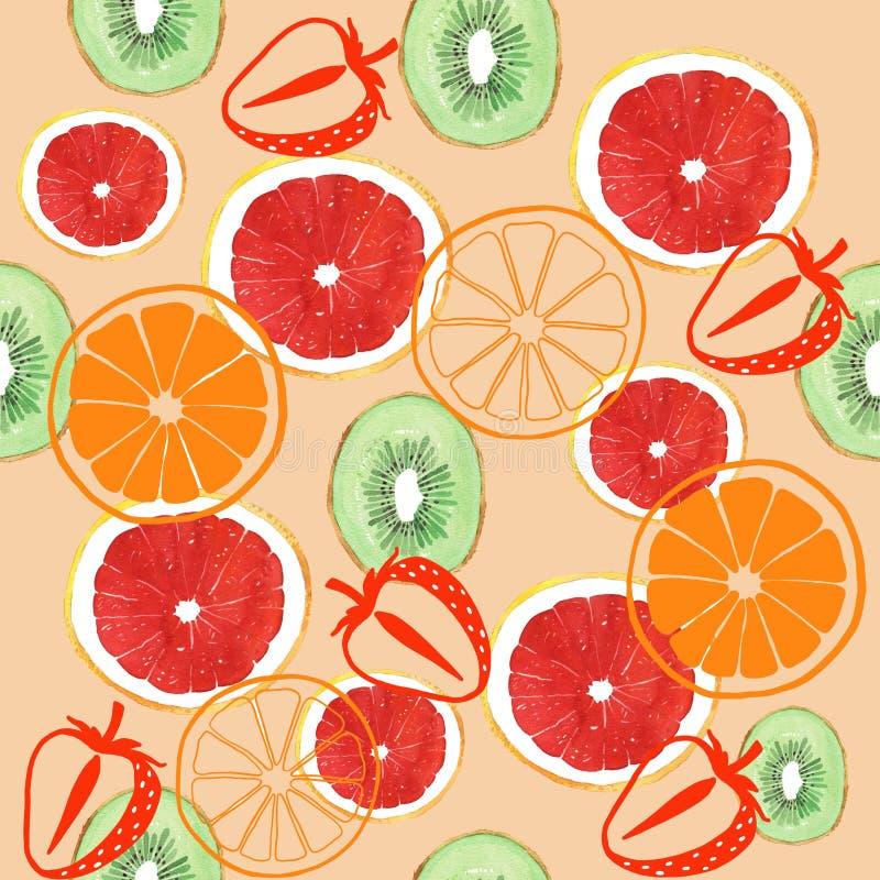 水彩葡萄柚猕猴桃和橙色无缝的样式 皇族释放例证