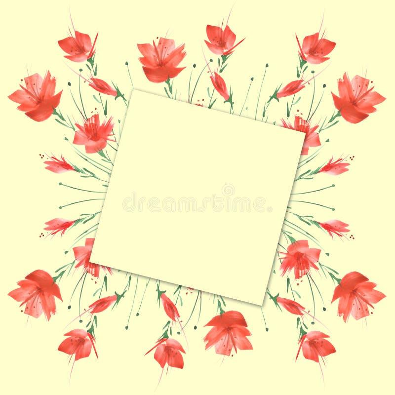 水彩葡萄酒图片,一个植物的样式的边界,红色鸦片,玫瑰,百合,野花,草,植物,叶子 库存例证