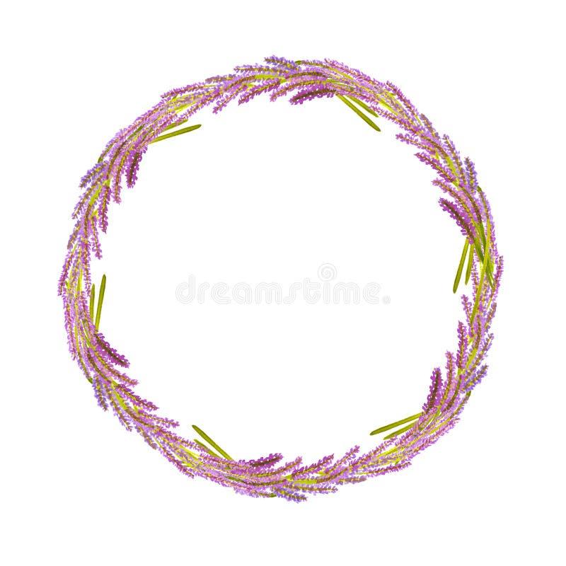 水彩葡萄酒手拉的淡紫色花花圈 库存例证
