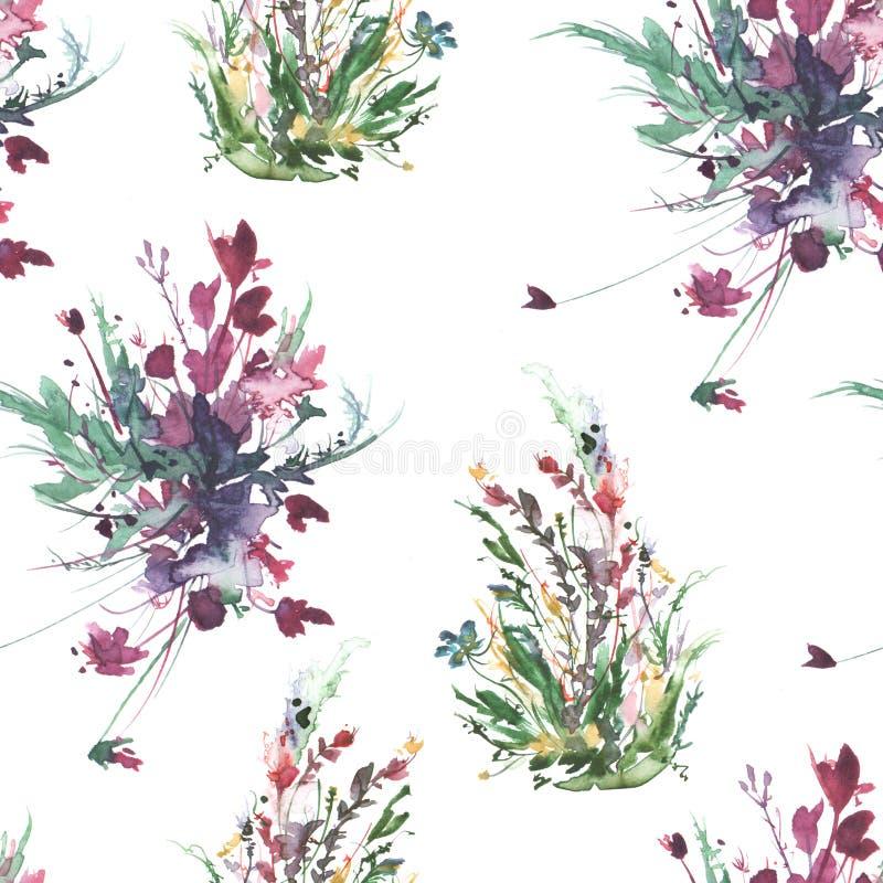 水彩葡萄酒无缝的样式,花卉样式,桃红色,玫瑰,鸦片,芽 植物,花,在花卉,野草的草 向量例证
