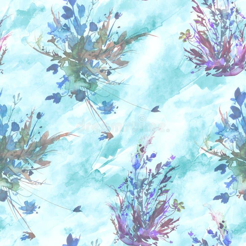 水彩葡萄酒无缝的样式,花卉样式,桃红色,玫瑰,鸦片,芽 植物,花,在花卉,野草的草 皇族释放例证