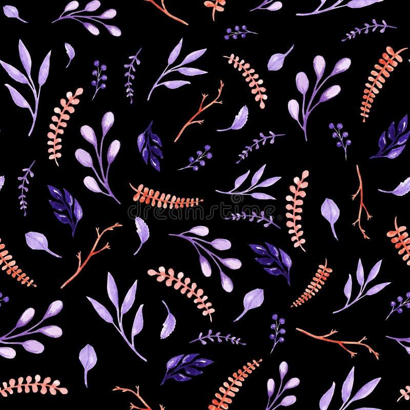 水彩葡萄酒离开无缝的样式 暗色 墙纸的设计,织品,打印 库存例证