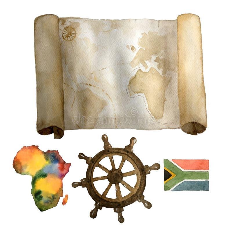 水彩葡萄酒船舶套老地图、海的方向盘和五颜六色的手拉非洲大陆和的旗子 向量例证